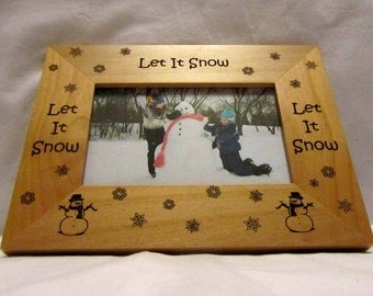 Personalized Wooden Snowman Picture Frame- Let It Snow