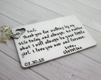 Wallet Insert with Necklace - Personalized Wallet Card - Hand Stamped Wallet Insert - Father of the Bride - Personalized Card - Custom Card