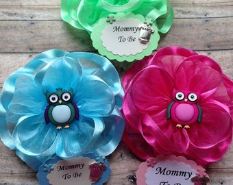 Owl Guest Corsages Mommy To Be Corsage or Any Color or Name Corsage Owl Grandma To Be Corsage Owl Baby Shower Pin Corsage
