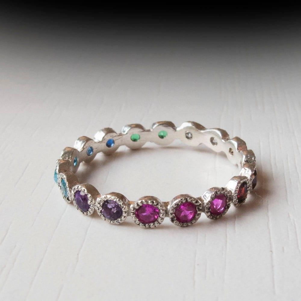 white gold eternity ring sapphire ruby citrine emerald