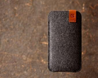 BESTSELLER NEW iPhone 6 SE/ iPhone 6/ 6s case sleeve wallet dark grey merino wool felt full grain tan leather
