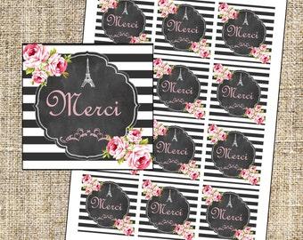 Paris Favor Tags, Merci Favor Tags, Eiffel Tower thank you labels, Instant Download