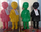 """Clonette Dolls - Iconically Kitsch Poupee Clonette, 9"""" (24cm) High, 100% Recycled, Black, Pink, Green, Yellow"""