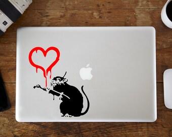 Banksy Rat Heart MacBook Decal