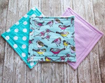 Blue Bird Baby Washcloth Set, 100% Cotton, Set of 3, Baby Wash Cloths, Baby Shower Gift, Baby Stocking Stuffer