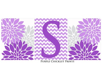 Letter S Baby Initial Art Purple Lilac Gray Flower Burst Wall Art Set Nursery Decor Living room Decor Set of 3 11x14 Prints 237(169ab)