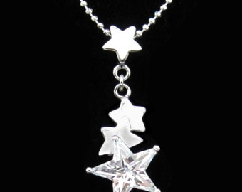 Cubic Zirconia CZ Crystal Star Pendant Charm Chain Necklace Silver Tone Clear