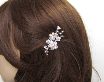 Crystal Flower And Vine Hair Accessory Jewelry Comb Clip Antique Silver Tone Wedding Bridal Bridemaid Clear Clear AB