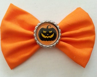 Halloween- Halloween Hair Bow- Pumpkin Halloween Hair Bow- Orange Pumpkin Hair Bow- Halloween Bow with Orange Pumpkin- Orange and Black Bow