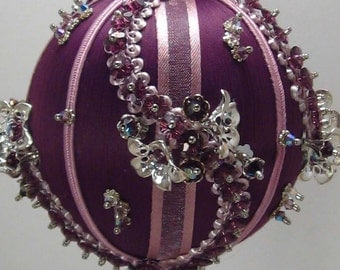 Shambala - Victorian Theme - A Finished Hand Made Beaded Satin Ornament With Crystals