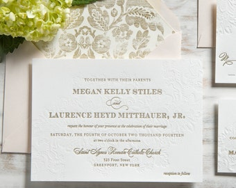 The Megan Suite | Lace Metallic Gold Letterpress Wedding Invitation SAMPLE