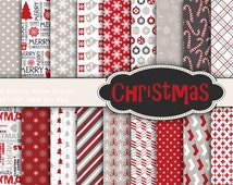 Instant Download Christmas Holiday Digital Paper Pack Christmas Scrapbook Paper Pack - Damask Floral Geometric - Red Grey White Black 0121
