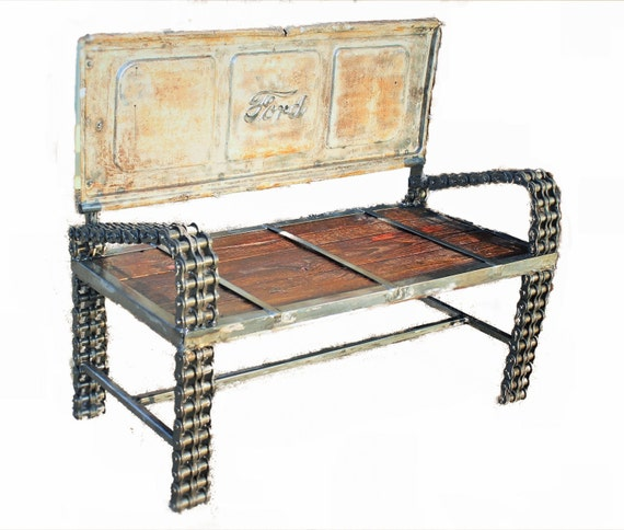 Ford Truck Tailgate Bench Reclaimed Wood By Recycledsalvage: reclaimed wood patio furniture