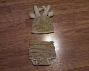 Crochet Deer Hat/Diaper Cover Set