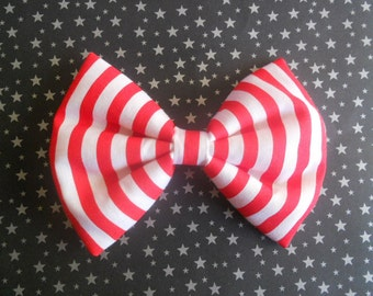 Red and white stripe hair bow clip