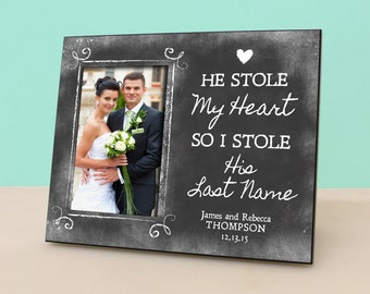 Personalized Wedding Frame - He Stole My Heart, So I Stole His Last Name -Personalized Picture Frame - Photo Frame - Newlywed Gift -PF1102