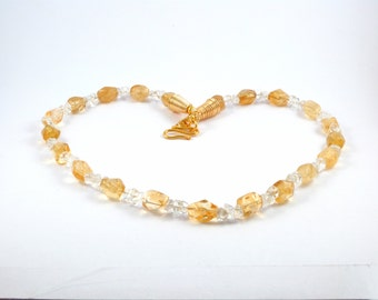 Citrine and Clear Quartz Necklace