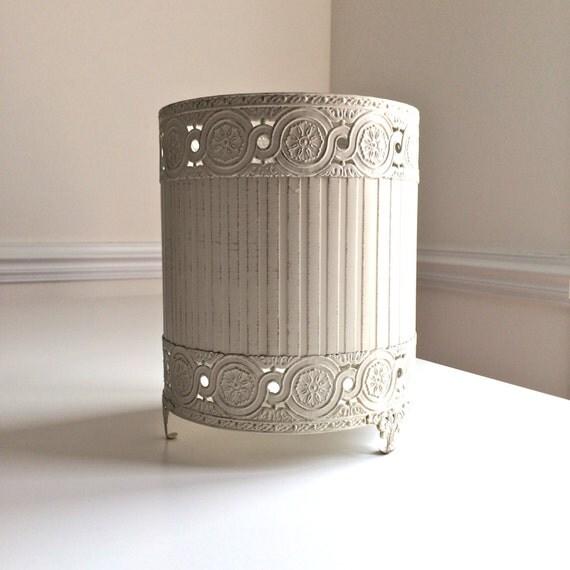 Vintage Metal Cut Out Floral Trash Can Waste Basket Cover