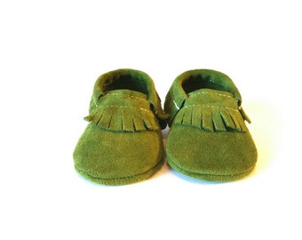Grass Green Suede Baby  Moccasins (leather,  fall, spring, suede)