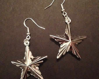 Silver Star Ornament Earrings
