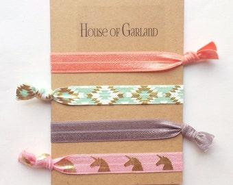 Pastel Dream set of 4 FOE hair ties - No Crease hair ties - Girls hair ties - FOE hair ties - Hair accessories - Ponytail - Hair Elastics