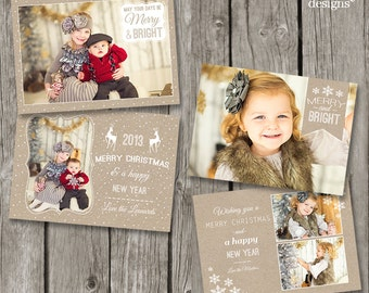 Rustic Christmas Cards - Kraft Christmas Card Templates - Photo Holiday Cards for Photographers - Instant Download Photoshop Cards - CS05