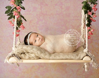 Wooden Log Newborn Baby Swing with Cotton Rope Style #1 Photography Prop
