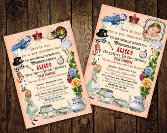 Alice in Wonderland Invitation, Wonderland Birthday Invite, Alice Printable Invite, Custom digital Invitation - Printable DIY