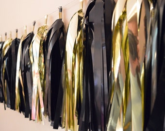 Graduation Party Decor - Black and Gold Tassel Garland - Black Tie event - Hollywood Theme Party Decor