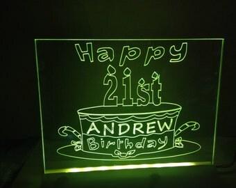 happy birthday light up sign cake  any name and age illuminated customized party