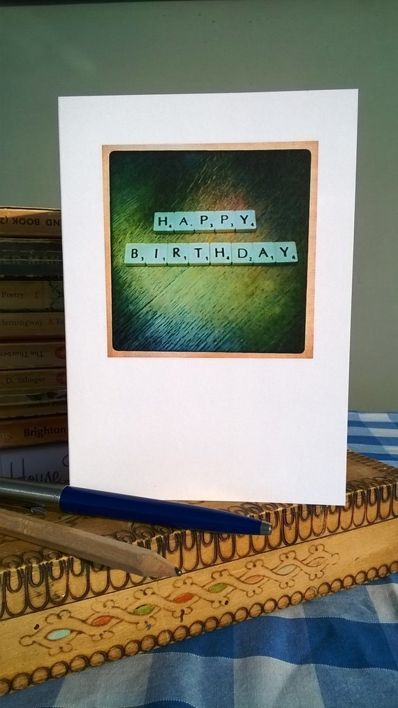 Happy Birthday Card For a Man Birthday Card Happy Birthday Retro Scrabble Card Natural Wood For Him
