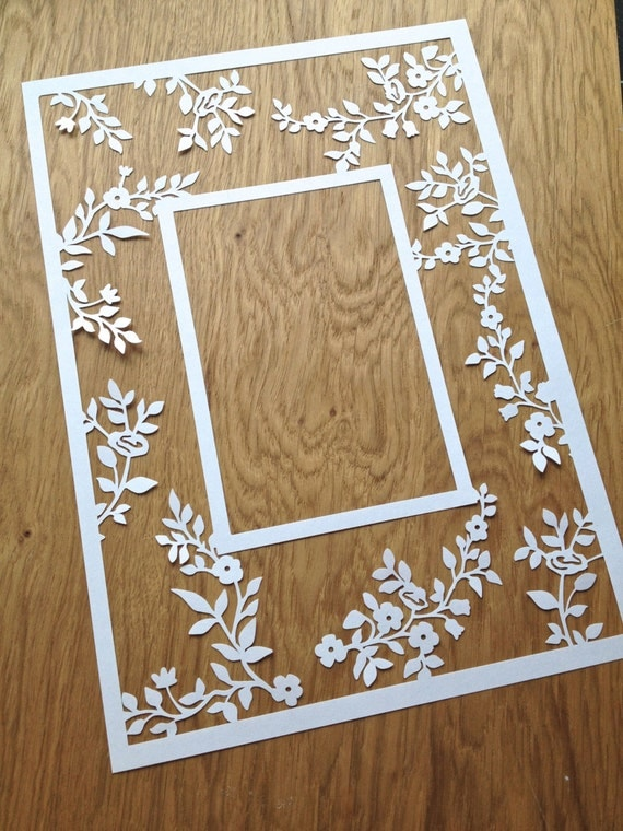 Flower Photo Frame Papercutting Template By