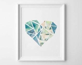 GEOMETRIC HEART - Instant Download - Watercolor - 8x10 - 11x14 -  Printable Art - Heart - Geometric - Minimalist-  Wall Art - Home Decor