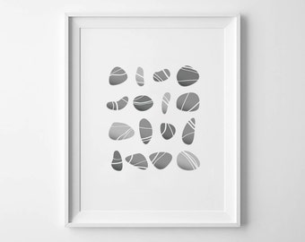 PEBBLES - Instant Download - 8x10 - 11x14 -  Printable Art - Stones - Beach - River - Gray - Minimalist - Wall Art - Home Decor