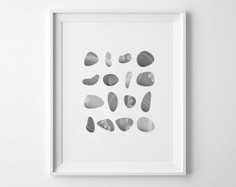 PAINTED PEBBLES - Instant Download - 8x10 - 11x14 -  Printable Art - Stones - Beach - River - Gray - Minimalist - Wall Art - Home Decor