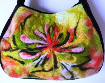 Handmade wool felt handbag