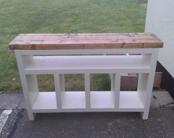 Chunky rustic console table Painted