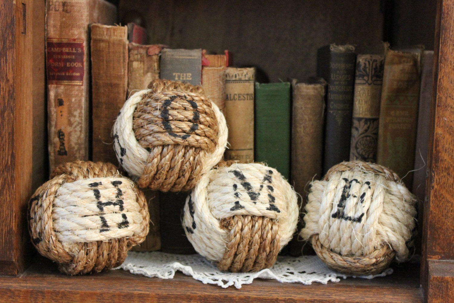 Rustic Western Home Sign Nautical Rope Balls Set Of 4 Rope