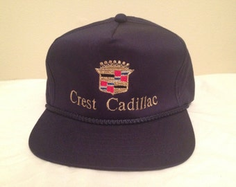 vtg 90s crest cadillac nashville na vy blue strapback hat cap retro. Cars Review. Best American Auto & Cars Review