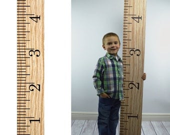Photography Prop - GIANT RULER Growth Chart Photography Prop WOOD pattern - Life size ruler growth chart printed prop - 8 inches x 59 inches