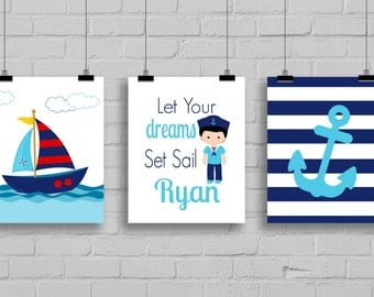 Sailor Decor - Let Your Dreams Set Sail - Nautical Nursery Decor - Boy Sailor - Boys Room Decor - Anchor Decor - Sailboat - Set of 3 Prints