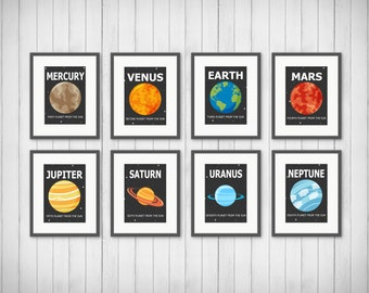 Planet Prints  - Solar System - Boy or Girls Room Decor - Playroom - Outer Space - Planet Decor - Outer Space Decor - 5x7 or 8x10 Prints