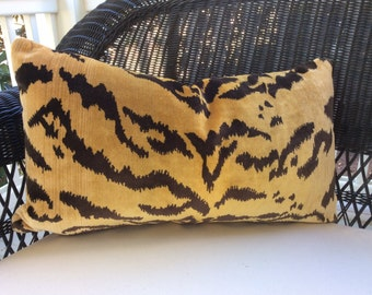"""Scalamandre Pillow Cover in Gold and Black """"Le Tigre"""" Silk Velvet, 23x13, Down Insert Included"""