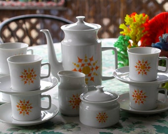 Complete and fabulous set of Mod Vintage Yellow and Orange Starburst 1970's  Coffee Set