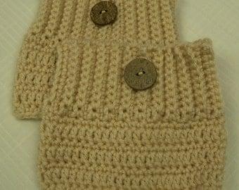 Crocheted Beige Boot Cuffs--One Pair