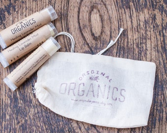 Set of 3 Organic LIP BALMS - 0.15 oz each // Mix + Match // Organic & Mindfully-Sourced Ingredients