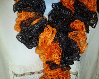 Free Shipping Orange and Black Ruffled Scarf