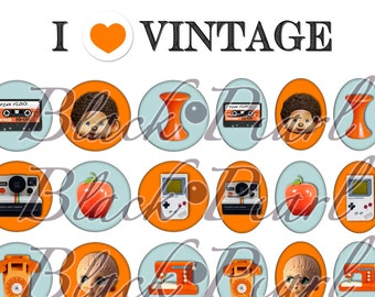 I LOVE Vintage - Page digital collage for cabochons - 60 pictures to print