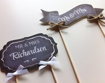 Wedding Chalkboard Cake Topper - Banner / Plaque / Bunting -  Mr & Mrs, Just Married, Love, Hitched