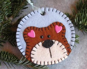 Blue Wool Felt Round Teddy Bear Tag Ornament